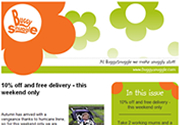 Email marketing campaign for Buggysnuggle developed by The Drawing Board, North Cornwall